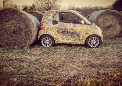 hay bale smart car wrap design