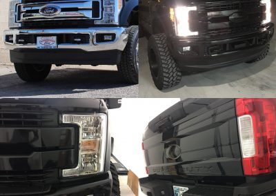 Chrome delete gloss black truck wrap