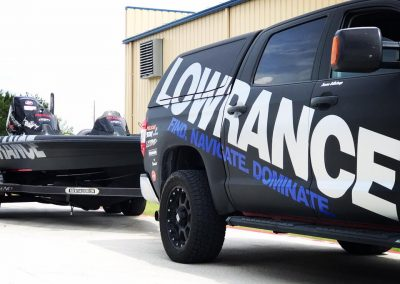 lowrance carbon fiber boat and truck wrap